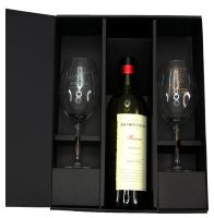 two wine glasses with bottle gift box
