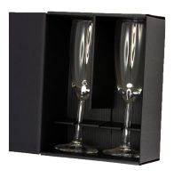 two small champagne flute glass gift box